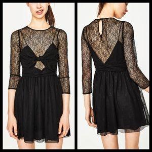 Zara Trafaluc Black Lace Bow Tie Dress